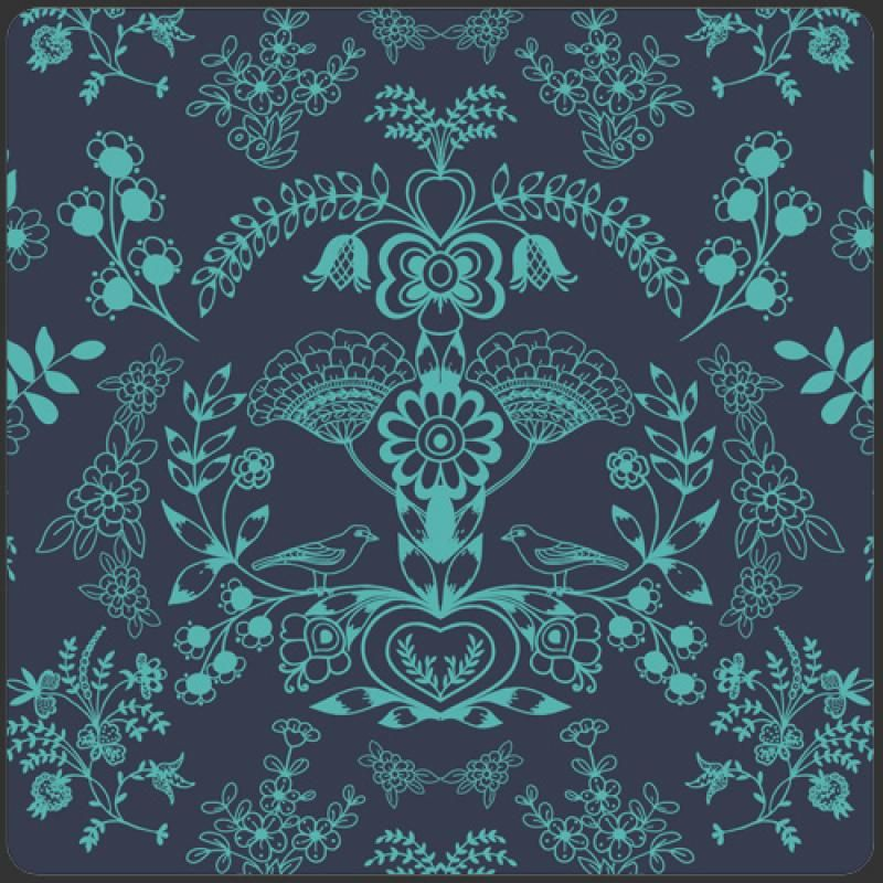 Modernology fabric collection in Floralism Deep Sea