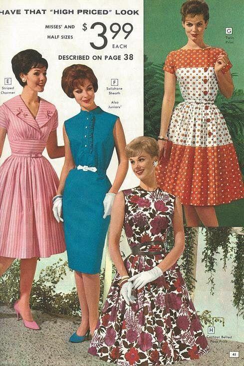 skiss på 50 tal klänning