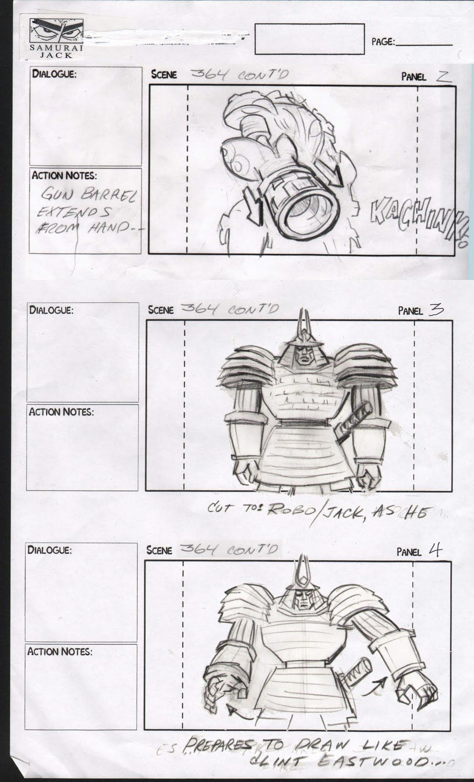 Jim Smith Cartoons Storyboards  Samurai Jack