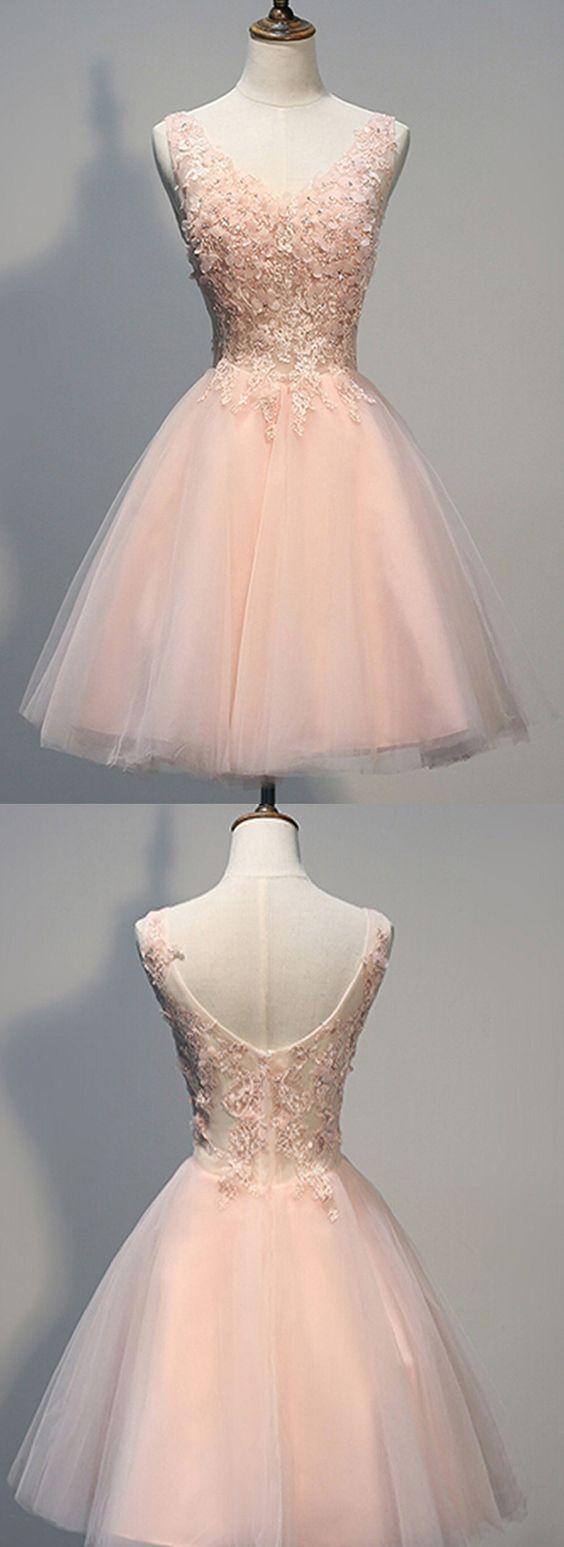 Charming Heimkehr Kleid, Blush Pink Heimkehr Kleider.Lace Prom Kleider, Beade #shortbacklessdress