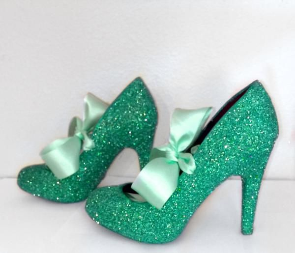 Womens Spearmint Green Glitter High Low Heels Wedding Bride Pumps Shoes Satin Ribbon Joker
