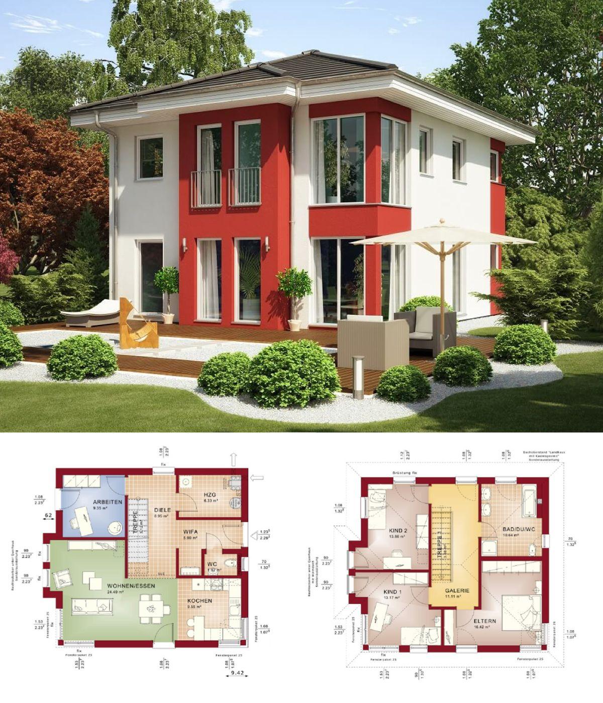 moderne stadtvilla haus evolution 136 v2 bien zenker fertighaus bauen walmdach fassade putz. Black Bedroom Furniture Sets. Home Design Ideas