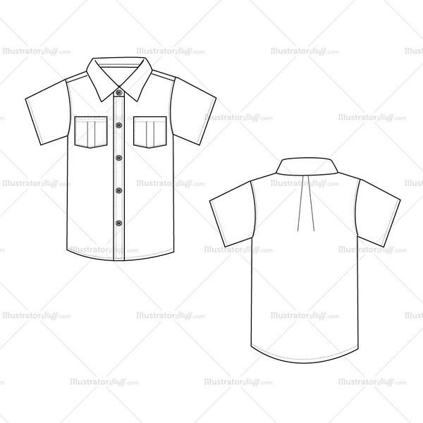 A casual front and back shirt for men. Short set-in-sleeve