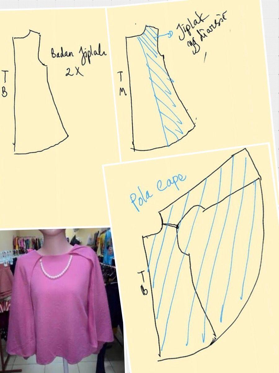 Cape blouse | Sewing Patern (Pola Baju) n Pecah pola | Pinterest ...