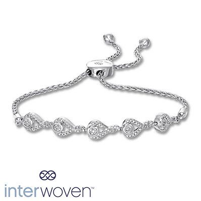 Artistry Diamonds Paw Print Bolo Bracelet 1/10 ct tw Diamonds Sterling Silver YAZWP