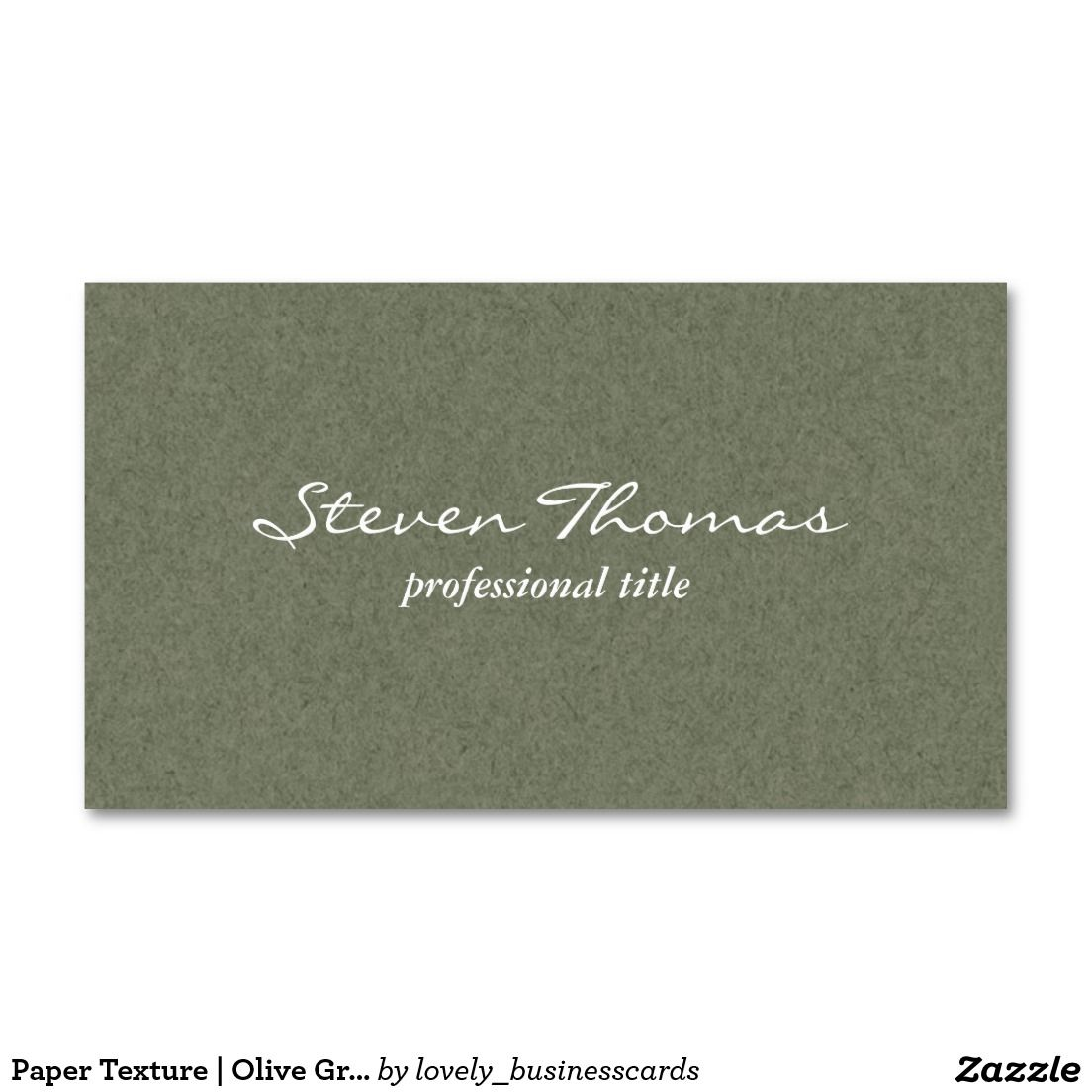 Paper Texture | Olive Green Business Card | Green business, Business ...