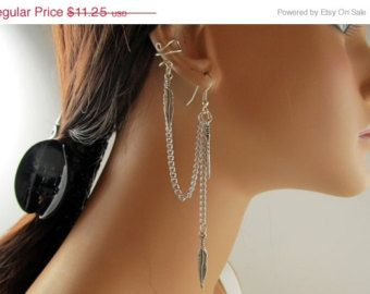 On Sale Chain Ear Cuff, No Pierce Cartilage Earring, Silver Metal Feather, Gift For Her, Handmade €8,06 EUR RazzleDazzleMe  MONA de Marta en Etsy