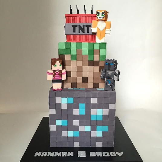 "3-tier Minecraft cake with ""Pat & Jen"" and Stampy figures. All figures and details are modeling chocolate."