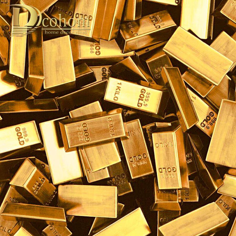 Dcohom Modern Luxury 3D Gold Brick Wallpaper For Bedroom Living ...