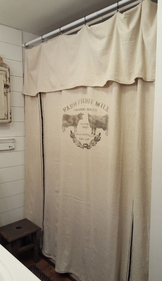 Grain Sack Window Or Shower Curtain Farm Fresh Farmhouse Shower