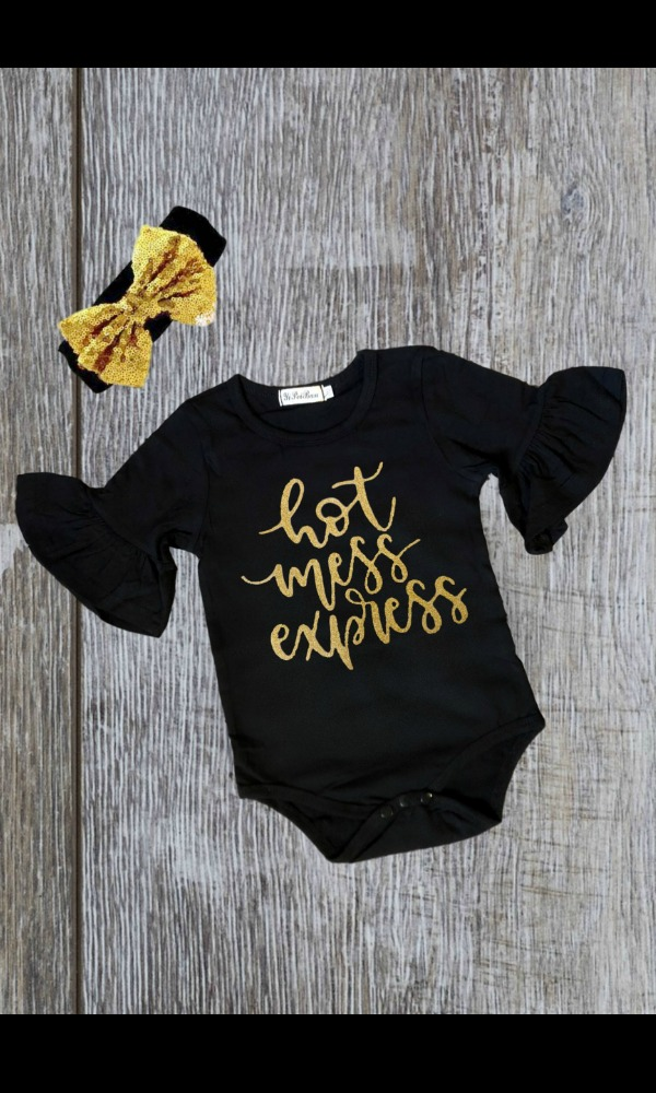 Ruffled Baby Onesie Hot Mess Shirts Black Baby Girl Clothes Boutique Baby Clothes Ruffled Onesies Baby Boutique Clothing Black Baby Girls Hot Mess Shirts