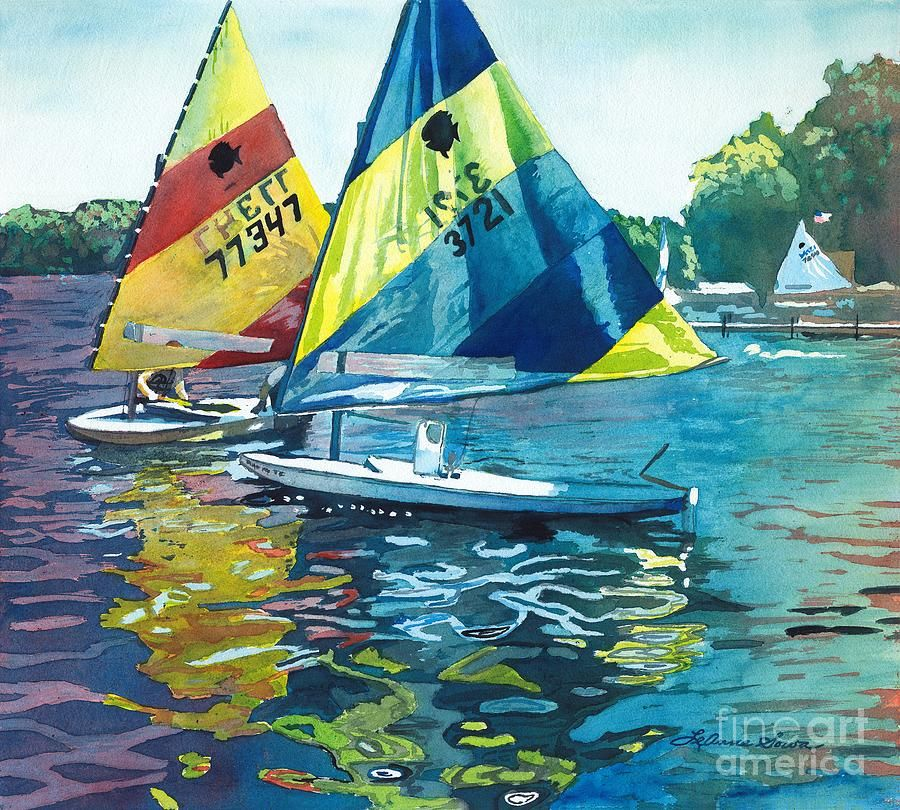 Reflections After The Race By Leanne Sowa Boat Painting Sailing Painting Sailboat Painting