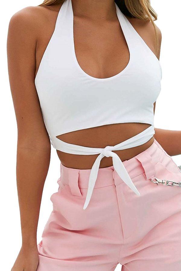 c5b0ce3b902 Womens Sexy U Neck Halter Backless Front Tie Plain Crop Tank Top White