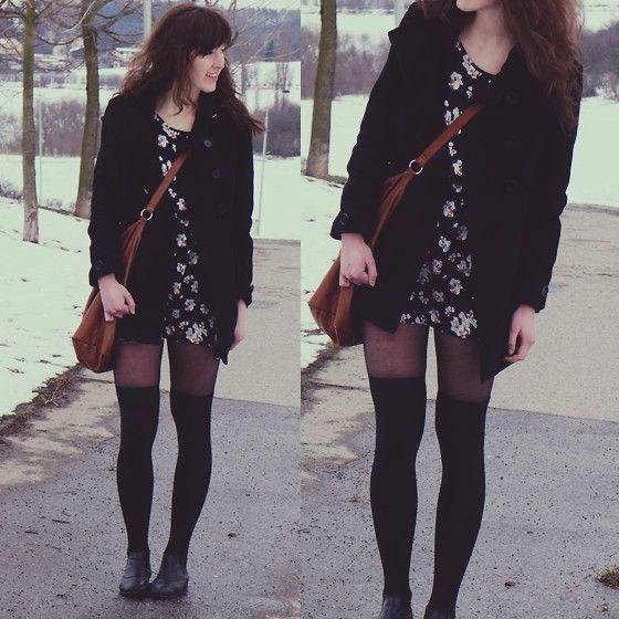 Floral Dress, Leather Bag, Over Knee Socks, Woolen Coat, Ankle Boots