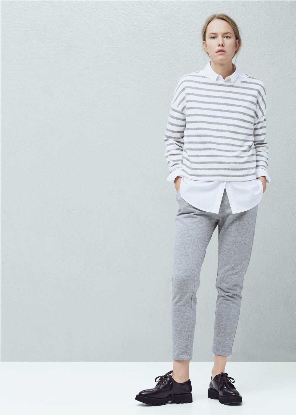 6bba73397d01 Sweat-shirt coton à rayures - Cardigans et pull-overs pour Femme   MANGO