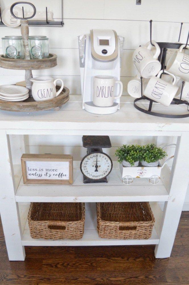 DIY Coffee Bar Table | how to build your own farmhouse style ...