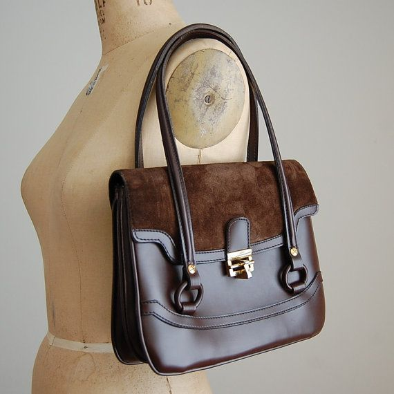 The 1960s Dark Brown Suede cover double handle handbag
