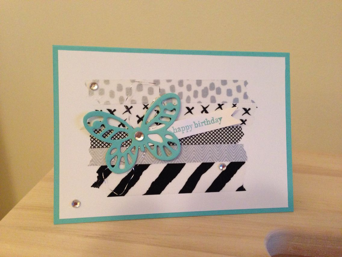 Stampinu up birthday card everyday chic washi tape bold butterfly