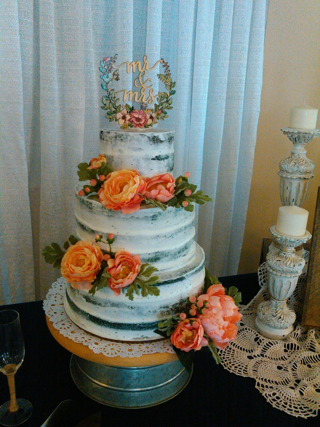 NAVY BLUE CAKE, With coral Flowers Coral wedding flowers