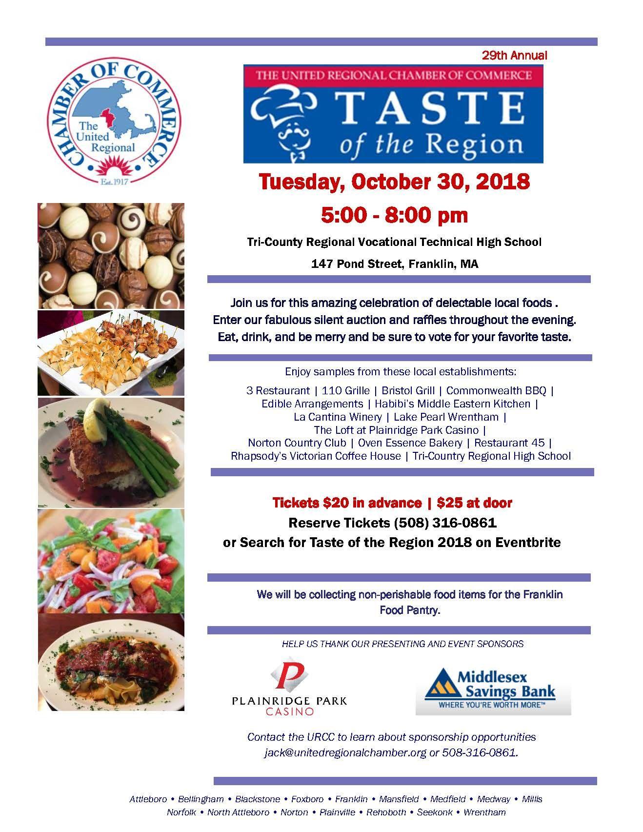 Taste Of The Region United Regional Chamber Of Commerce Chamber Events Chamber Of Commerce Tasting