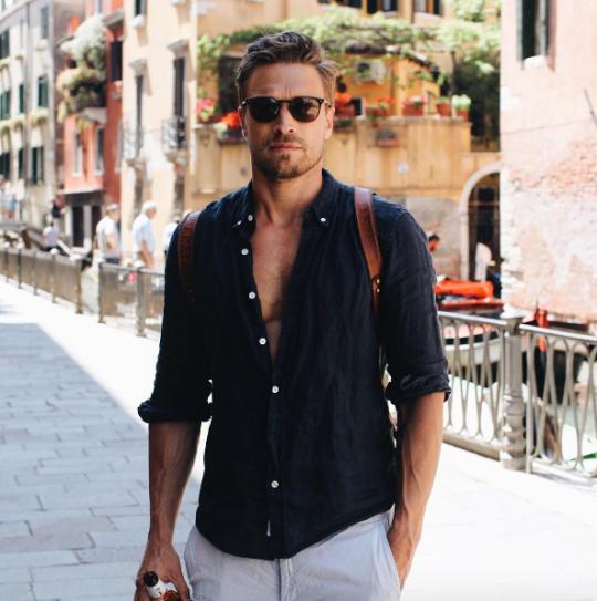 Casual. Shirt. Pants. Bag. Sunglasses