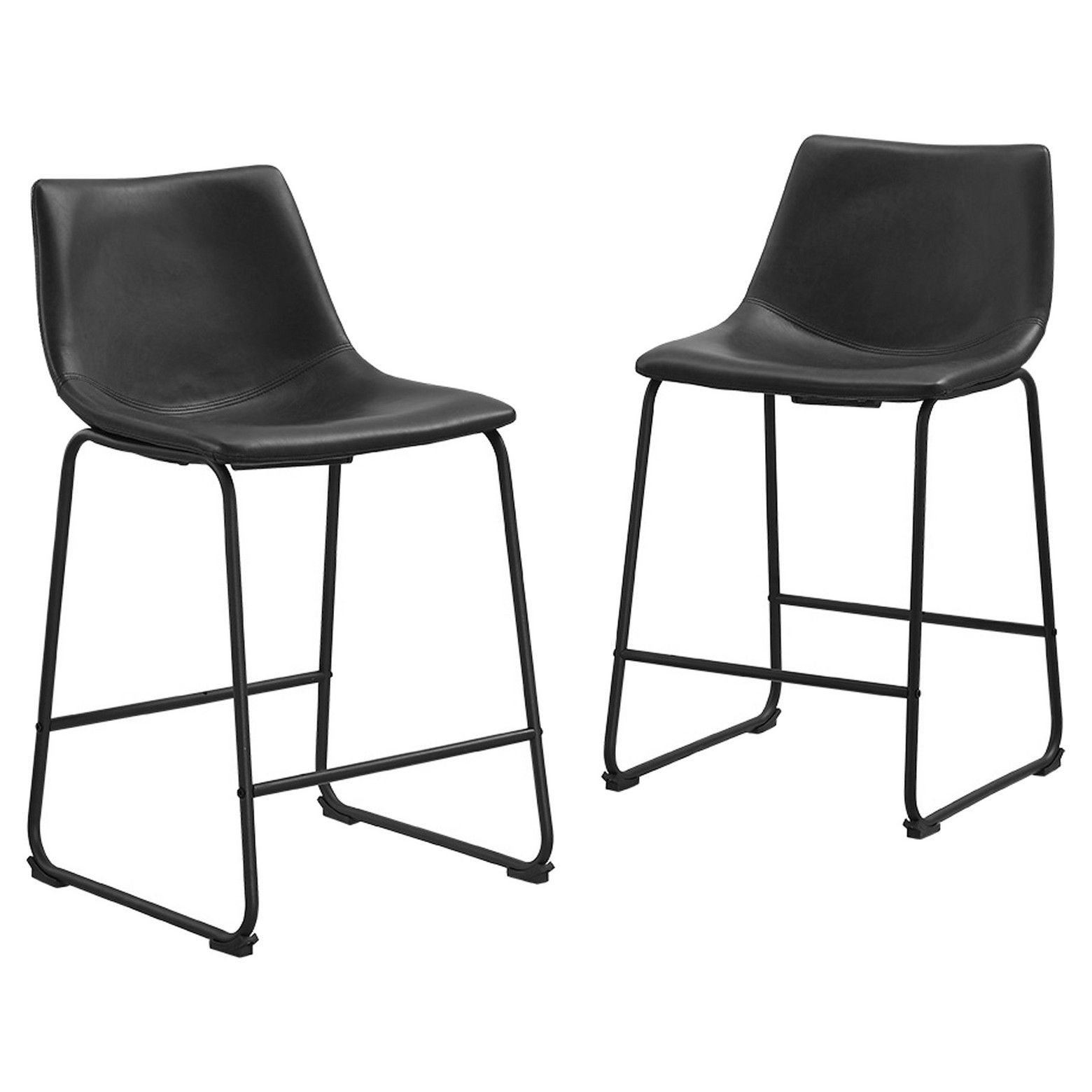 Set Of 2 Faux Leather Dining Kitchen Counter Stools Saracina