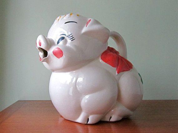 Vintage Pig Water Pitcher Ball Jug Tilt Jug by @winkinpossum, $32.00