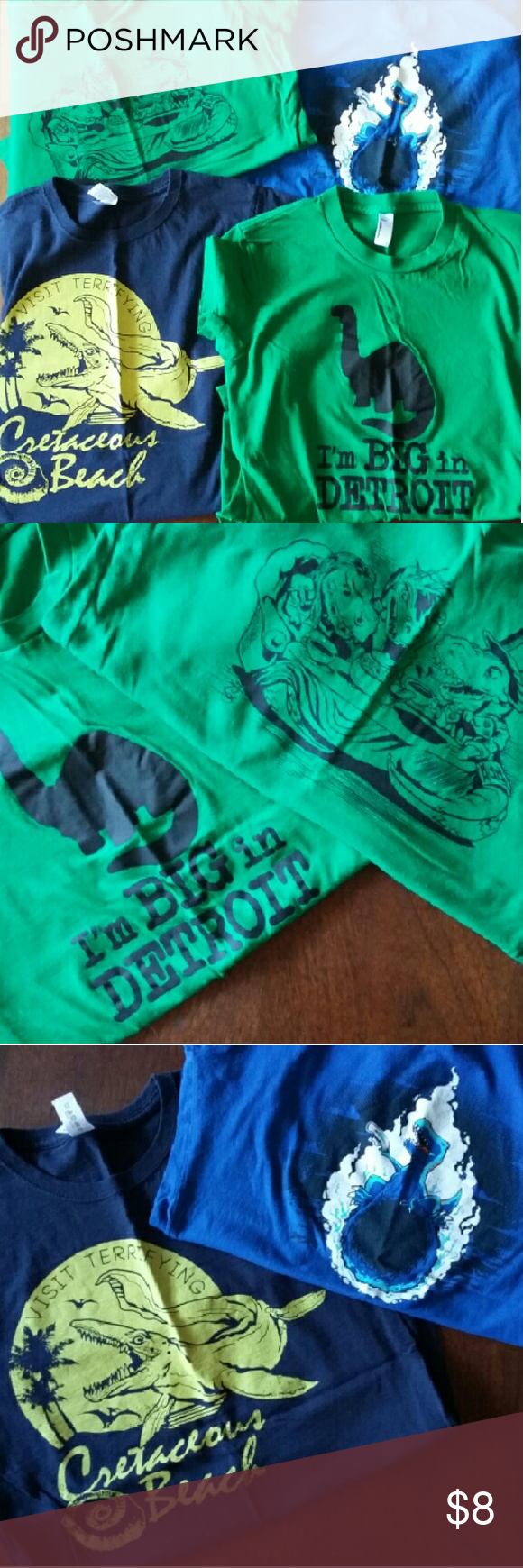 Dinosaur t-shirts Bundle of four dinosaur tees, all fitted crewneck: I'm Big In Detroit (American Apparel S) Mad Hatter T-Rex party (Tultex M) Cretaceous Beach (Gildan M) T-Rex meteor (Tee Fury M) Tee Fury Tops Tees - Short Sleeve