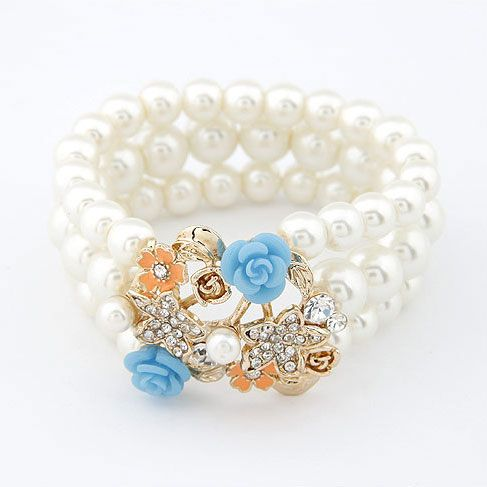 Fashion Flowers Multilayer Pearl Beads Bracelet Jewelry[US$8.09]