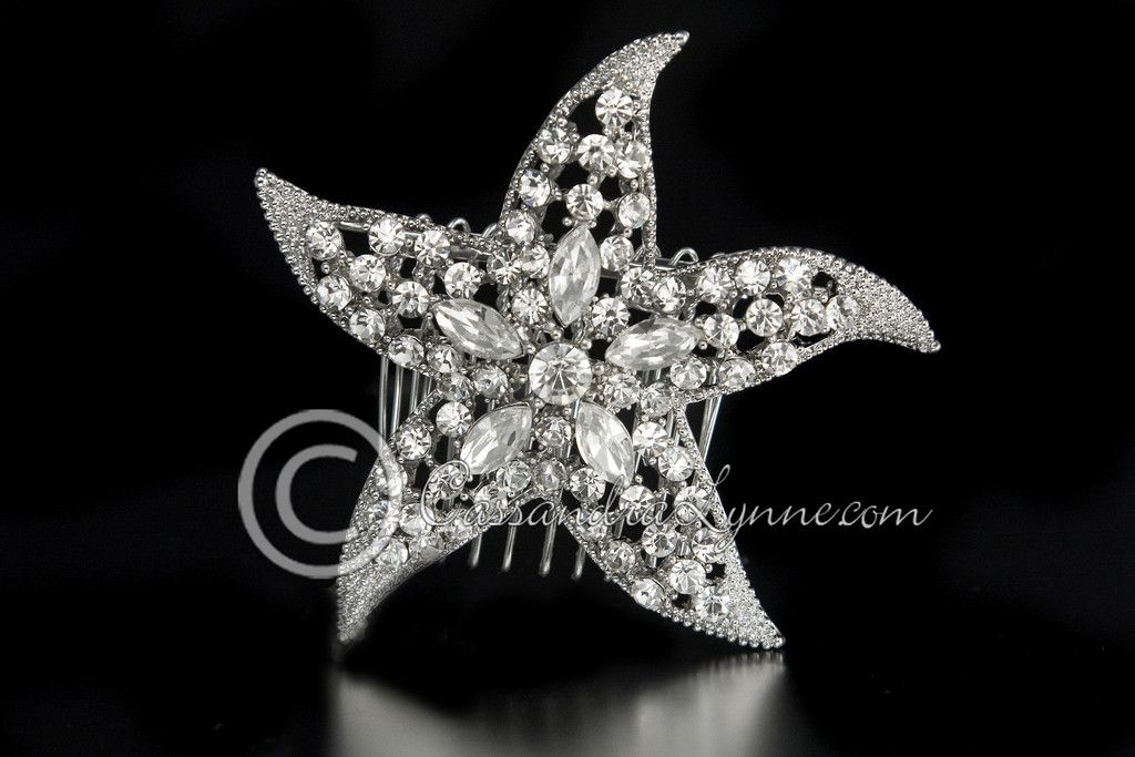 Beach wedding hair accessories: Starfish with Marquise Crystals