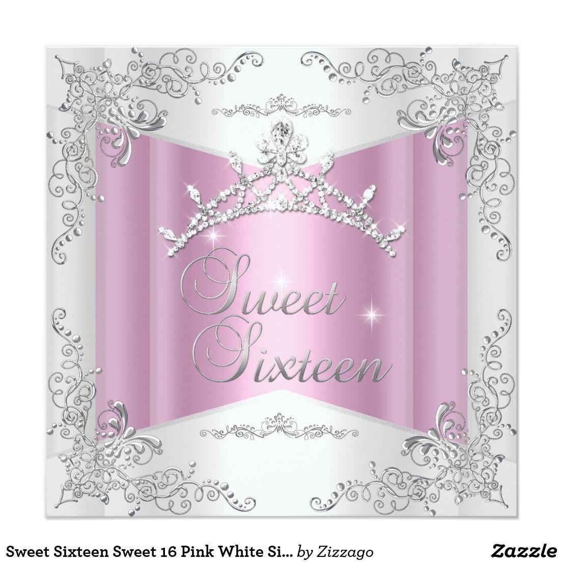 Sweet Sixteen Sweet 16 Pink White Silver Tiara Invitation ...