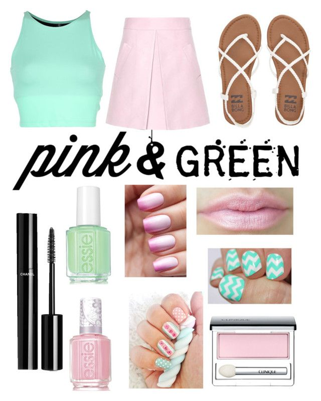 """""""#75 Pink & Green"""" by maddygrove ❤ liked on Polyvore featuring beauty, Essie, Onzie, Billabong, Chanel, Marni and Clinique"""