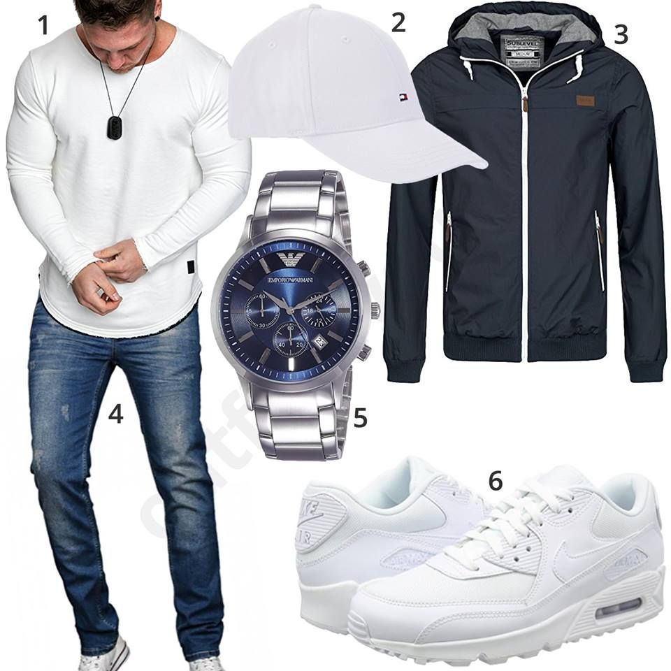 Blau Weisses Herrenoutfit Mit Pullover Cap Und Nike S Outfits4you De Mens Trendy Outfits Mens Fashion Suits Mens Outfits