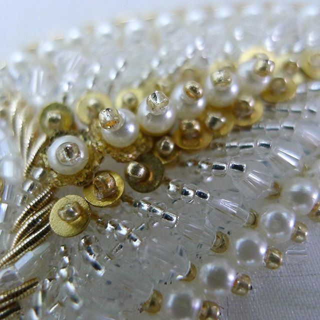 Sunday golden crystal shimmer | #detail #leica #embroidery #micro #closeup #handembroidery #beading #crystals #gold #sequins #design