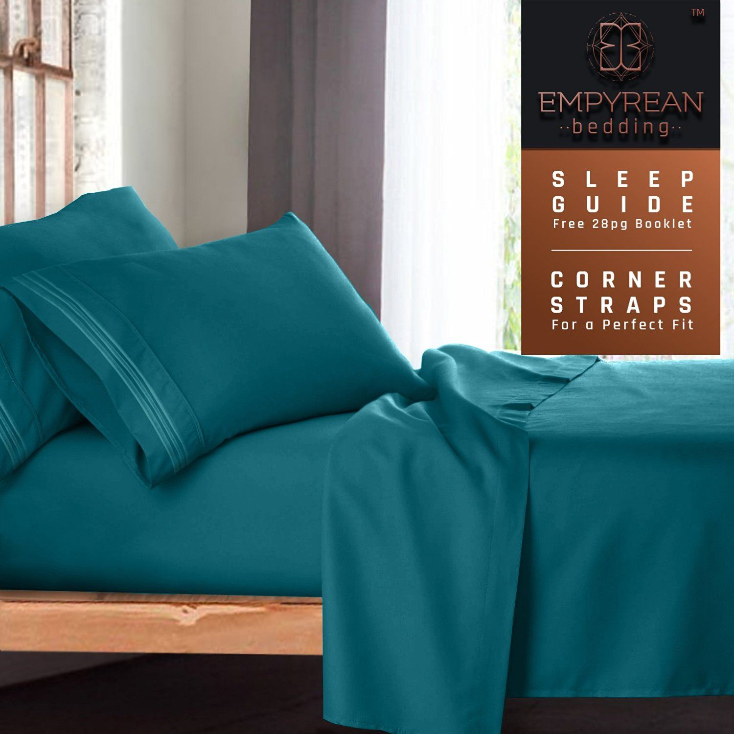 Queen Size Bed Sheets Set Teal Turquoise Soft Luxury Best Quality 4 Piece