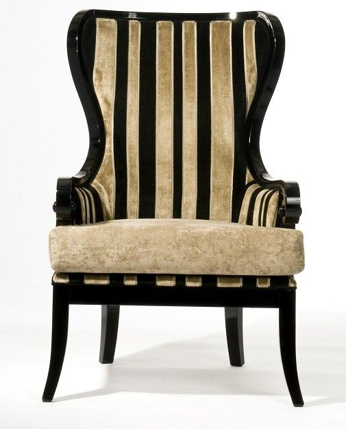 Pair Of Black Gold High Back Armchairs Luxury Chairs Gold