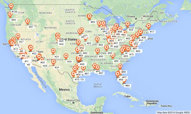 Top 100 Cities In The Us Ranked By The Economic Value Of Solar Power Vivid Maps Map Solar Power United States Map