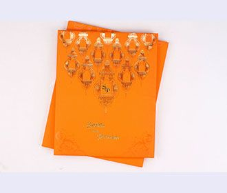 Traditional Indian Wedding card in Orange and Golden