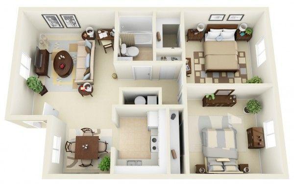 Plan maison 3D d\u0027appartement 2 pièces en 60 exemples Bedroom - plan maison avec appartement