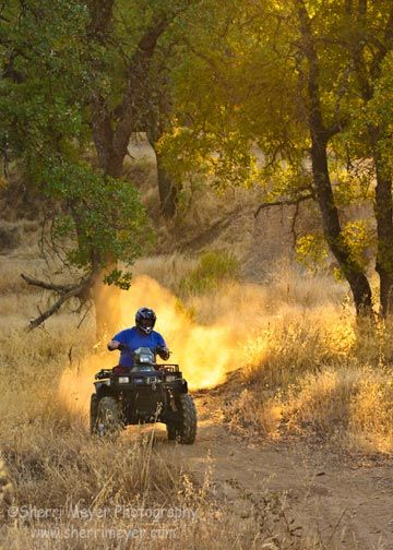 "Jeff Meyer riding his ""Green Burrito"" (#Quad) near our home in #AuburnCalifornia. If you would like to keep up with what's new at Sherri Meyer Photography, please join our mailing list:  http://www.facebook.com/SherriMeyerPhotography/app_7146470109."