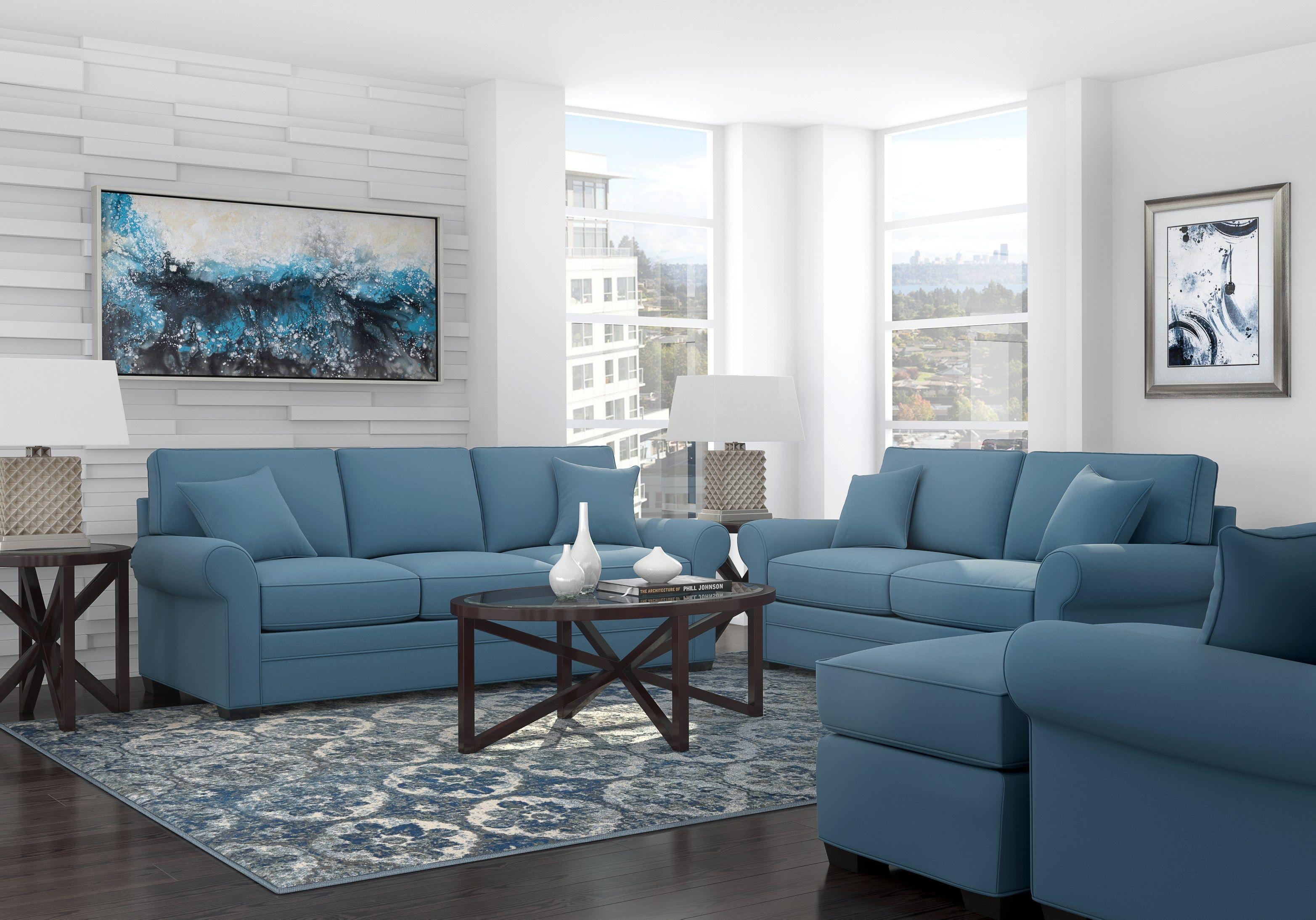 Cindy Crawford Home Bellingham Indigo 7 Pc Living Room Living Room Sets Blue Living Room Sets Blue Living Room Living Room Sets Furniture