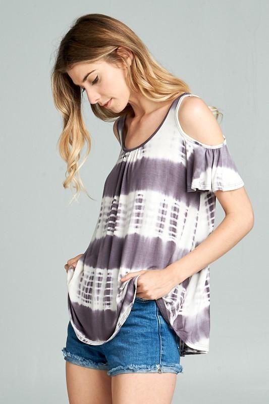 Tanner | $26 HOT TREND ALERT! Tie dye is a spring must-have. Tanner is our open-shoulder tie dye tunic top with front ruching detail and short sleeves. Relaxed through the waist and oh so soft. #tiedye #tiedyetop #coldshoulder #coldshouldertop #grey #purple #spring #summer #springfashion #springoutfit #springstyle #fashion #love #pretty #cute #stylish #trendy #outfit #shop #new #Boutique #asherkate