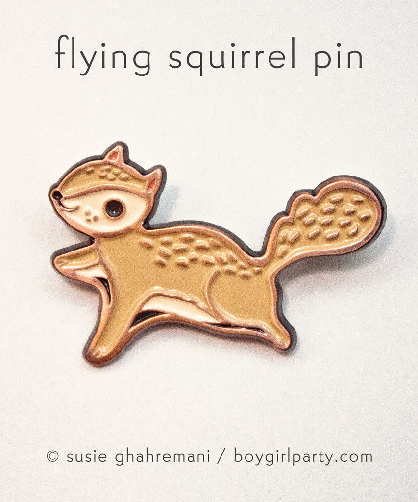 Let's all take a moment to appreciate the weirdness of a flying squirrel. Flying squirrel pin by Susie Ghahremani / boygirlparty.com