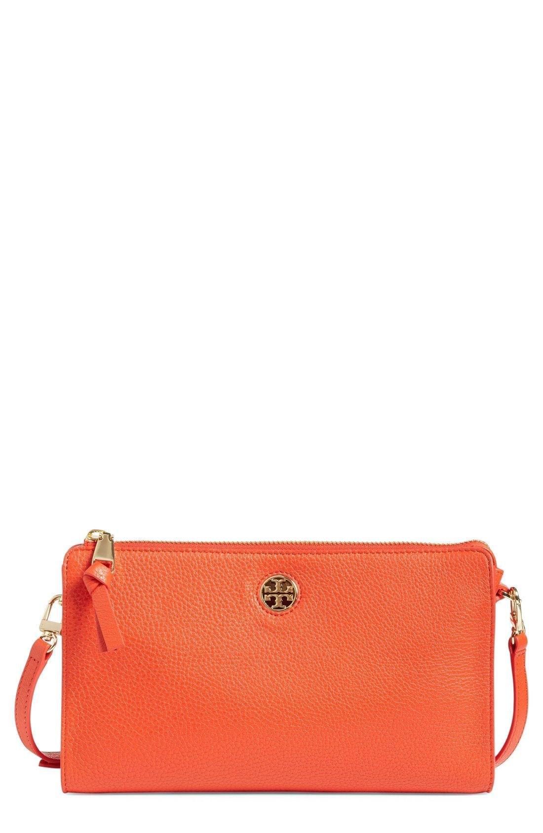 New Tory Burch Robinson Pebbled Leather Crossbody Wallet fashion online. [$225]?@shop.seehandbags<<