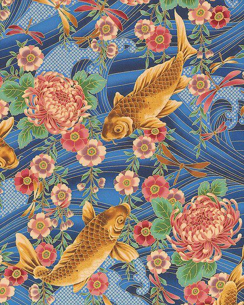 Nobu fujiyama peaceful stream koi chrysanthemums for Koi fish print fabric