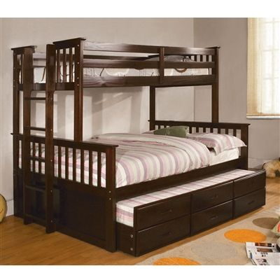 University Twin / Full Bunk Bed with Twin Trundle & 3 Drawers