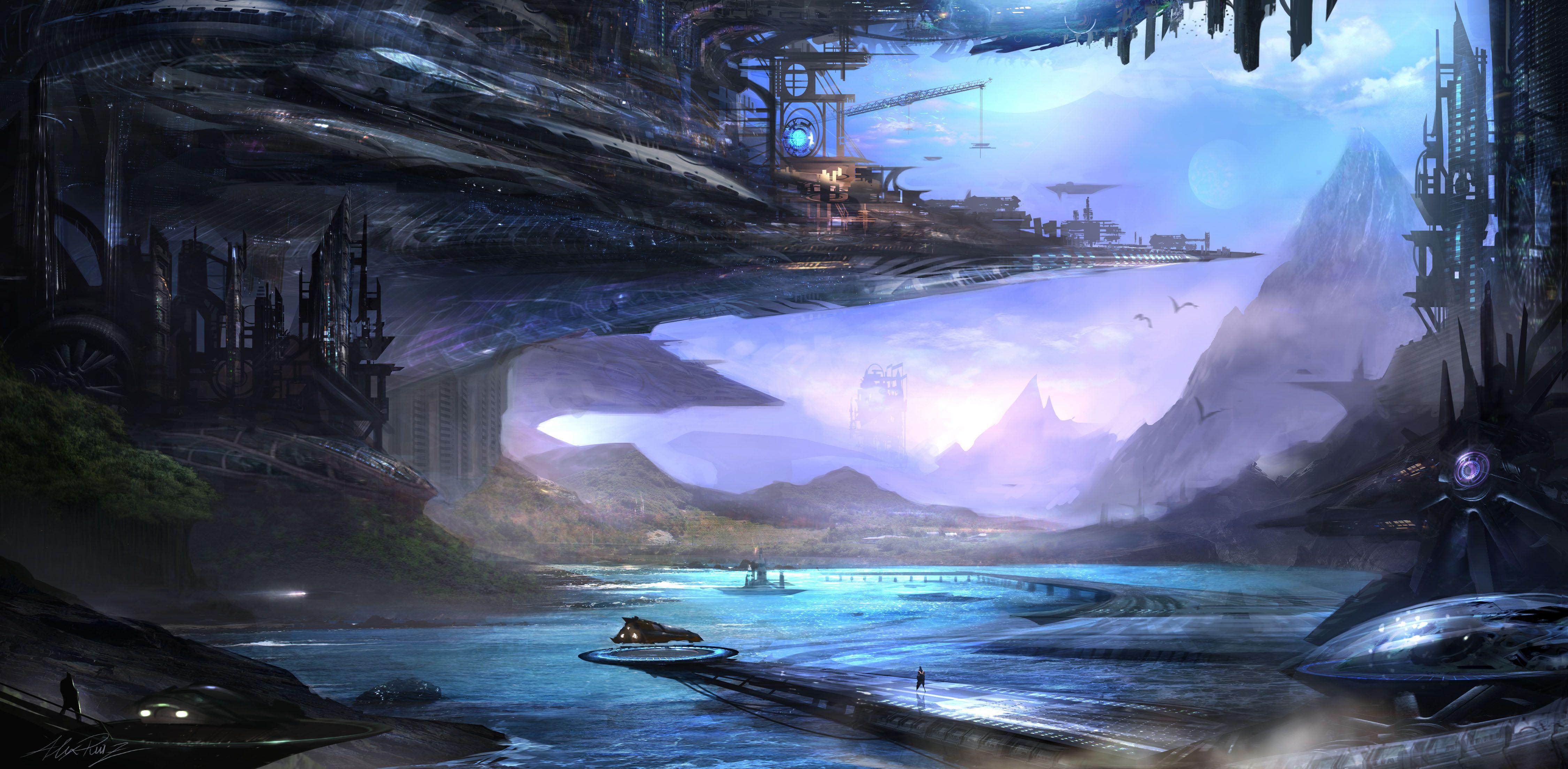 Sci Fi Landscape Wallpaper Anime Scenery Wallpaper Scenery Wallpaper Fantasy Landscape