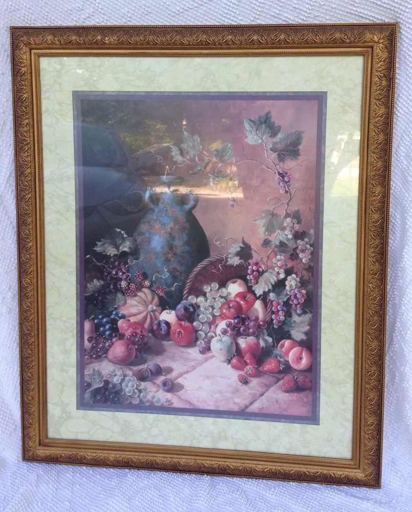 Vintage Home Interiors 34 X 28 Vase And Fruit Picture Signed