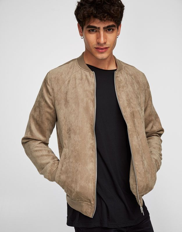 cab3f89a6 Faux suede bomber jacket with zip - Bomber Jackets - Coats and ...
