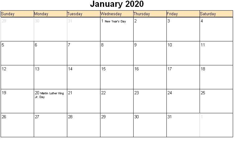 Printable January 2020 Blank Calendar With To Do List With Images